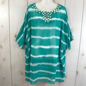 Susan Graver Green & White Sheer Oversized Top XL